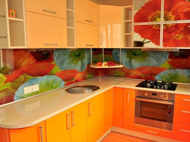 Скинали - стеклянные фартуки для кухни 10