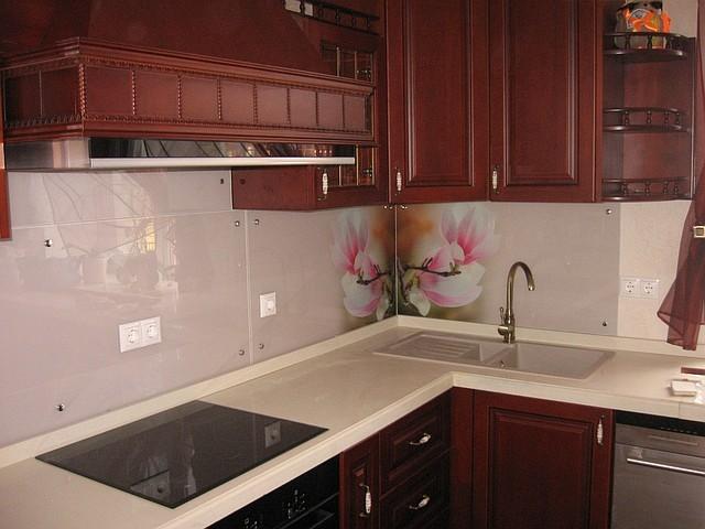 Скинали - стеклянные фартуки для кухни 4